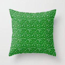Evergreen Green & White Christmas Snowflakes Throw Pillow