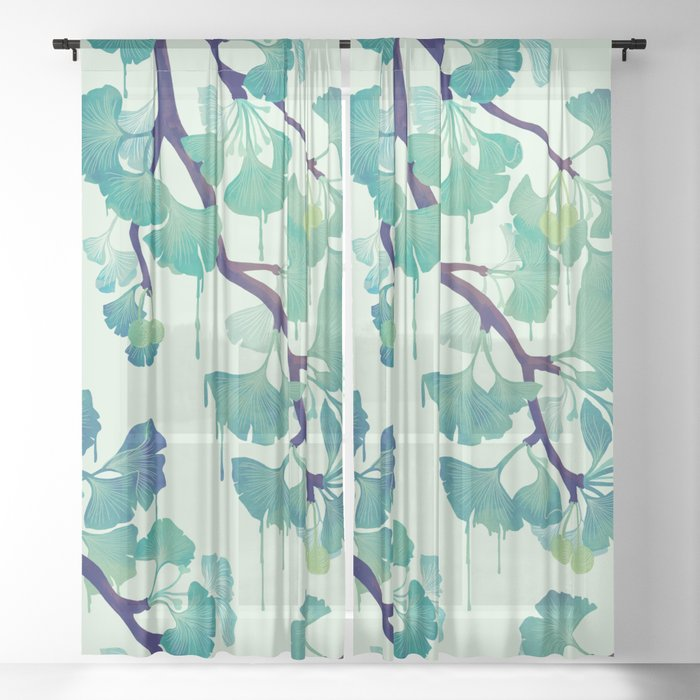 O Ginkgo (in Green) Sheer Curtain