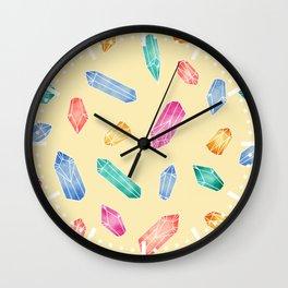 Crystals pattern - Yellow Wall Clock