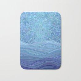 Blue Mandala Sunset at the Ocean Bath Mat