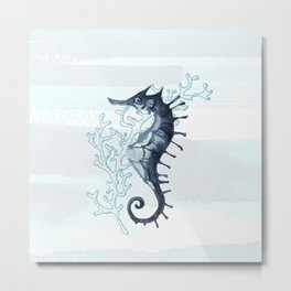 Whimsical Seahorse Coastal Design Metal Print