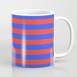 Even Horizontal Stripes, Blue and Red, M Coffee Mug