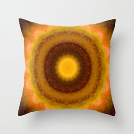 Lovely Healing Mandalas in Brilliant Colors: Brown, Pink, Gold, Yellow, Pink and Green Throw Pillow