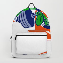Alligator Lifting Heavy Barbell Circle Mascot Backpack