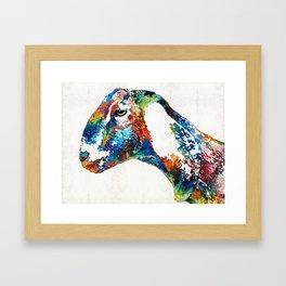 Colorful Goat Art By Sharon Cummings Framed Art Print