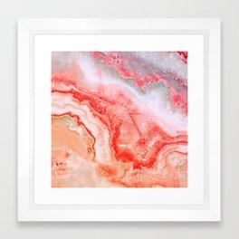 Luxury LIVING CORAL Agate Marble Geode Gem Framed Art Print