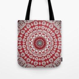 Red White Bohemian Mandala Design Tote Bag