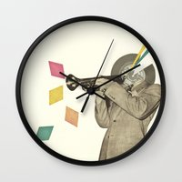 death note Wall Clocks featuring Blue Note by Cassia Beck