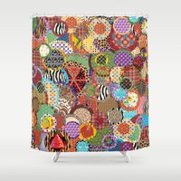 quilt Shower Curtains featuring Quilt Doodle by DesignsByMarly
