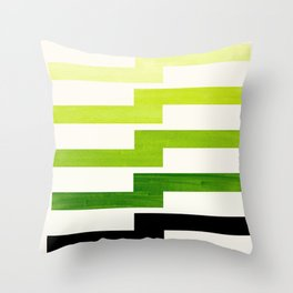 Minimalist Mid Century Modern Sap Green Watercolor Painting Lightning Bolt Zig Zag Pattern With Blac Throw Pillow