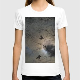 Crows Lit By A Full Moon T-shirt