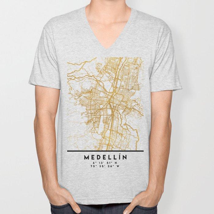 MEDELLÍN COLOMBIA CITY STREET MAP ART Unisex V-Neck