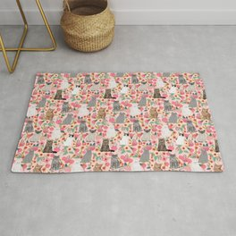 Cat Flowers cute spring summer garden cat lady pattern gift for cat person cat breed pet portraits  Rug
