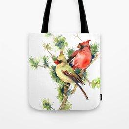 Cardinal Birds on Pine Tree Tote Bag