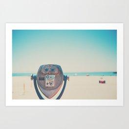a viewfinder looking towards the Pacific Ocean, Santa Cruz Art Print