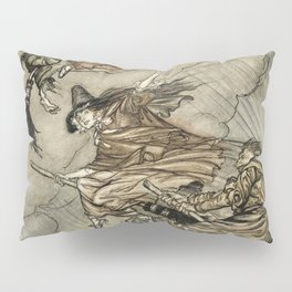 """Four Witches """"Up The Chimney"""" by Arthur Rackam Pillow Sham"""