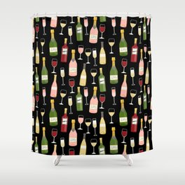 Rose drinks champagne wine bar art food fight apparel and gifts Shower Curtain