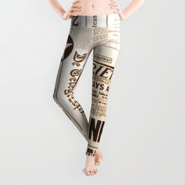 Vintage Newspaper Ads Black and White Typography Leggings