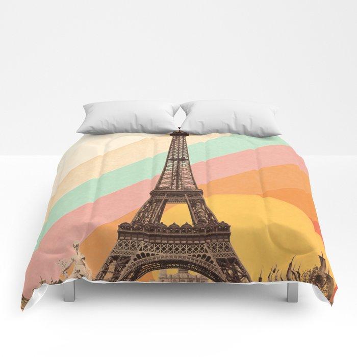 Rainbow Sky Above The Eiffel Tower Comforters
