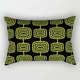 Mid Century Modern Atomic Rings Pattern Black and Chartreuse Rectangular Pillow
