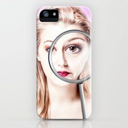 magnifying girl iPhone Case