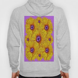 Amethyst Gems  & Yellow Sunflowers Modern Lilac Design Hoody