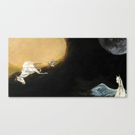 Horse flying to the moon Silver stream illustration Canvas Print