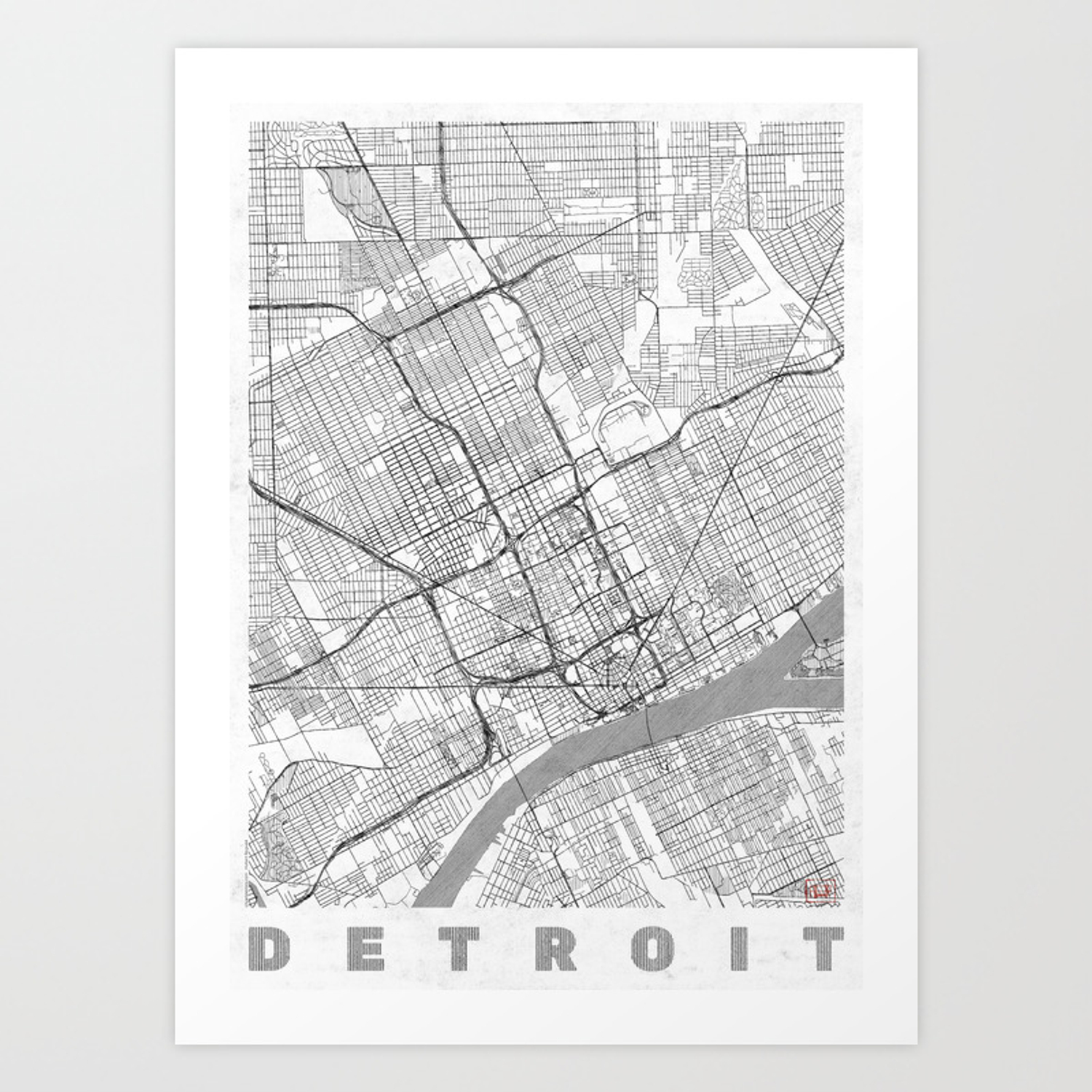 Detroit Map Line Art Print on st louis on map, chicago map, michigan map, great lakes map, baltimore map, new york map, quebec map, duluth map, cincinnati map, pittsburgh map, usa map, henry ford hospital map, royal oak map, atlanta map, toronto map, memphis map, las vegas map, united states map, compton map, highland park map,