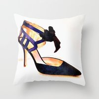 bow Throw Pillows featuring Bow by Modern Swan