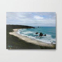 New Zealand Coastline Metal Print