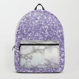 She Sparkles - Violet Purple Glitter Marble Backpack