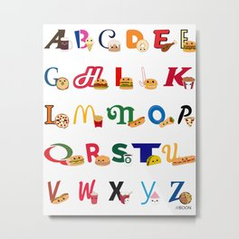 Fast Food Alphabet Metal Print