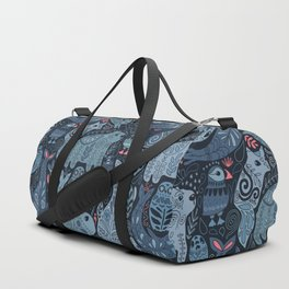 Arctic animals. Polar bear, narwhal, seal, fox, puffin, whale Duffle Bag