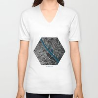 vienna V-neck T-shirts featuring Vienna city map black colour by MCartography