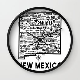 New Mexico Map  Wall Clock