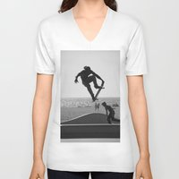 skateboard V-neck T-shirts featuring Skateboard Freedom by Scotty Photography
