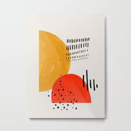 Rock & Hard Place Yellow & Orange Mid Century Modern Colorful Minimalist Shapes Patterns by Ejaaz Ha Metal Print