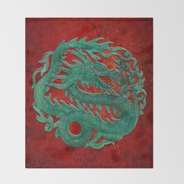 Wooden Jade Dragon Carving on Red Background Throw Blanket
