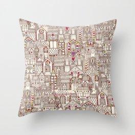 gingerbread town Throw Pillow