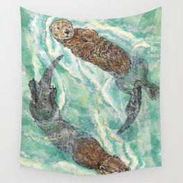 Two Otters Wall Tapestry