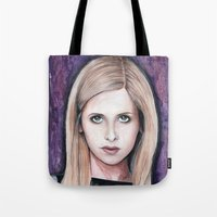 buffy Tote Bags featuring Buffy Summers by Morgan Allain, The Inkling Girl