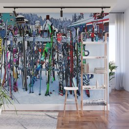 Ski Party - Skis and Poles Wall Mural