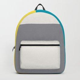 White Yellow Aqua Gray Geometric Minimal Design Backpack