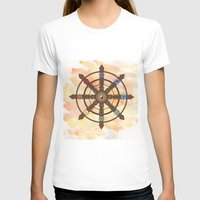 buddhism T-shirts featuring Buddhism Dharma Wheel by Rachael Amber