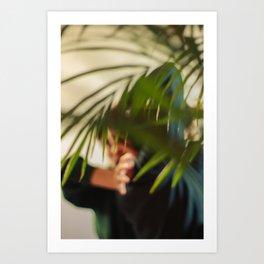 Dancer, woman behind plants, blur Art Print