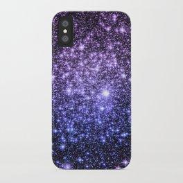 Galaxy Sparkle Stars Purple Periwinkle Blue iPhone Case