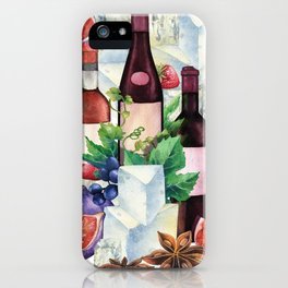 Watercolor wine glasses and bottles decorated with delicious food iPhone Case
