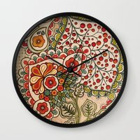 paisley Wall Clocks featuring paisley by Love on a Bike