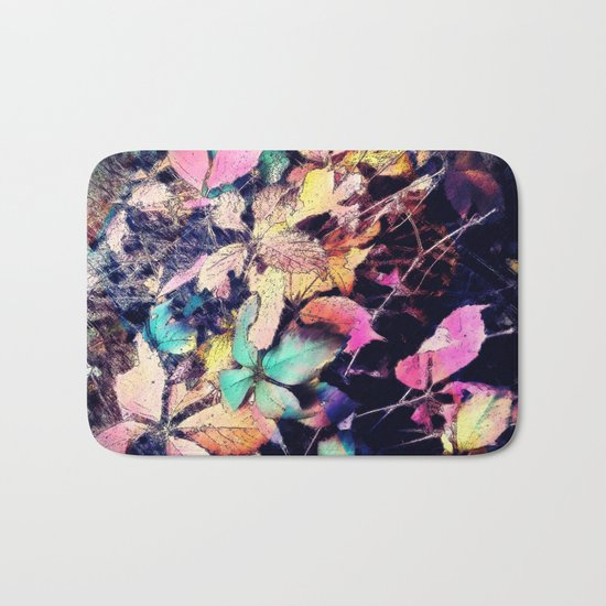 Autumn multi color palette leaves Bath Mat