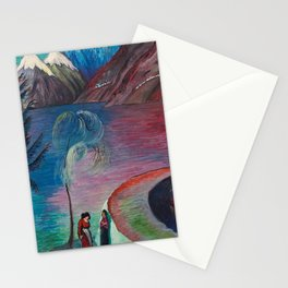 A l'Aube Alpine Mountain Lake landscape painting by Marianne von Werefkin Stationery Cards